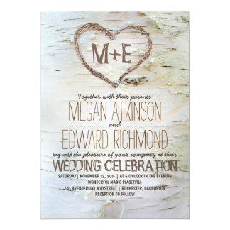 "Birch tree heart rustic wedding invitations 5"" x 7"" invitation card"