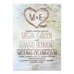 Birch tree heart rustic wedding invitations