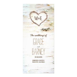 Birch Tree Heart Rustic Wedding Programs Customized Rack Card