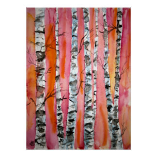 birch tree landscape abstract art print posters