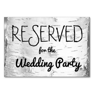 Birch Tree Reserved Wedding Sign Card