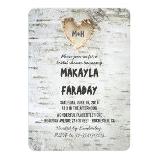 birch tree rustic bridal shower 13 cm x 18 cm invitation card