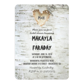 birch tree rustic bridal shower card