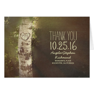 birch tree rustic country wedding thank you cards