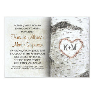 Birch Tree Rustic engagement party Invitations