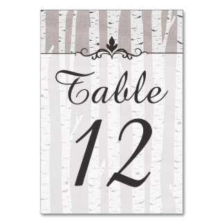 Birch Tree Rustic Nature Wedding Table Number