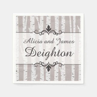 Birch Tree Rustic Wood Nature Wedding Personalized Disposable Napkins