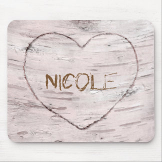 Birch Tree Wood & Carved Heart Rustic Country Mouse Pad