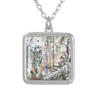 Birch Tree Woodland Watercolour Painting Square Pendant Necklace