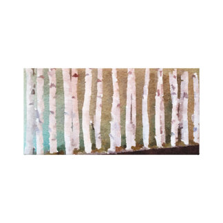 Birch Trees Abstract Watercolor Canvas Print