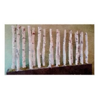 Birch Trees Abstract Watercolor Poster