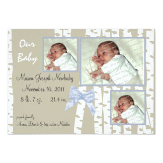 Birch Trees and Bows Baby 13 Cm X 18 Cm Invitation Card
