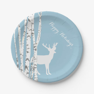 Birch Trees and Deer Holiday Paper Plate