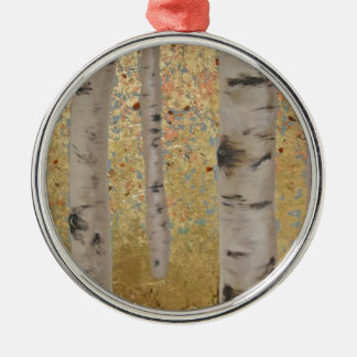 Birch Trees and Gold Leaf Original Artwork Silver-Colored Round Decoration