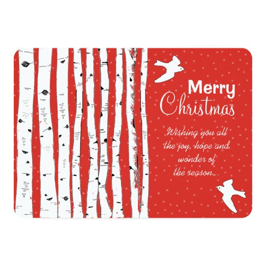 Birch Trees & Birds Merry Christmas 13 Cm X 18 Cm Invitation Card