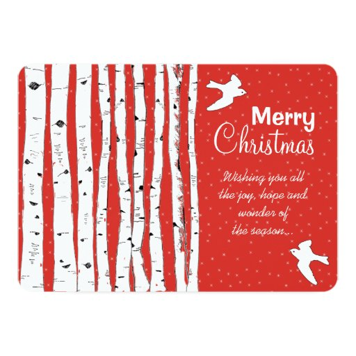 Birch Trees & Birds Merry Christmas Personalized Announcement