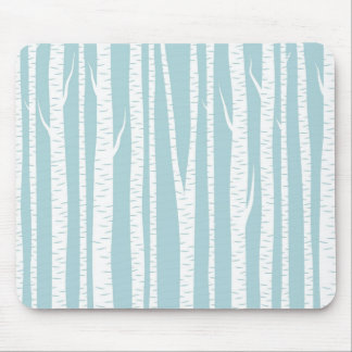 Birch Trees Blue Mouse Pad
