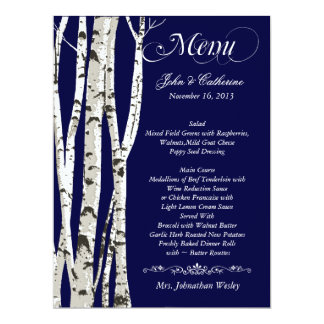 Birch Trees Custom Wedding Menu Card