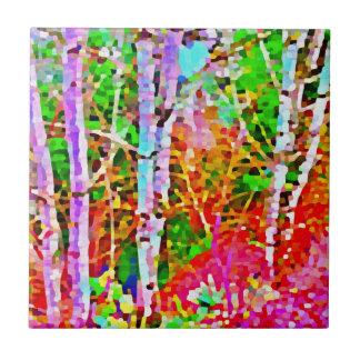 Birch Trees in Springtime Ceramic Tile