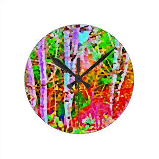 Birch Trees in Springtime Round Clock