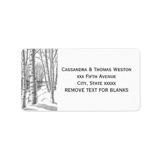 Birch Trees In Winter Christmas Xmas Label