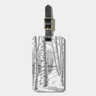 Birch Trees In Winter Christmas Xmas Luggage Tag