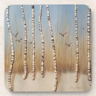 Birch Trees in Winter Coaster