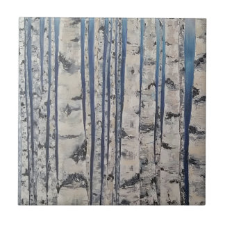 Birch trees Morse Code Ceramic Tile