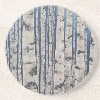 Birch trees Morse Code Coaster
