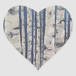 Birch trees Morse Code Heart Sticker