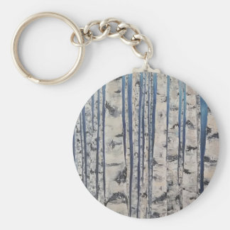 Birch trees Morse Code Key Ring