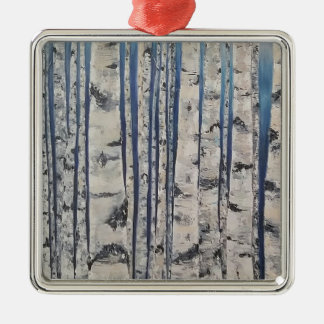 Birch trees Morse Code Metal Ornament