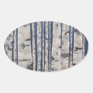 Birch trees Morse Code Oval Sticker