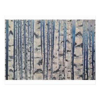 Birch trees Morse Code Postcard