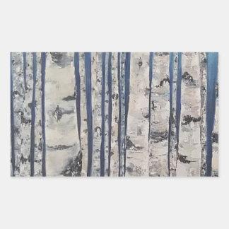 Birch trees Morse Code Rectangular Sticker