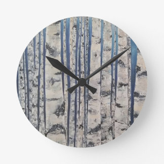 Birch trees Morse Code Round Clock