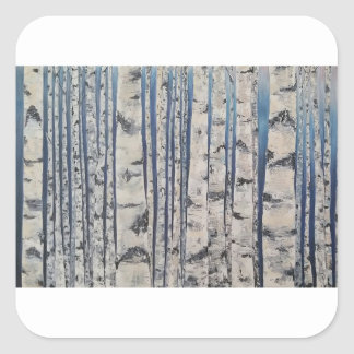 Birch trees Morse Code Square Sticker