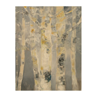 Birch Trees On Grey Background 4 Wood Print