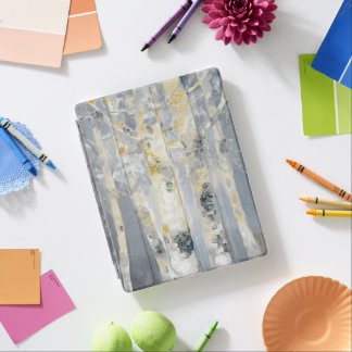 Birch Trees On Grey Background 6 iPad Cover
