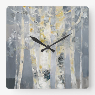 Birch Trees On Grey Background 6 Square Wall Clock