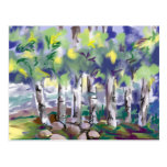 Birch trees painting post card