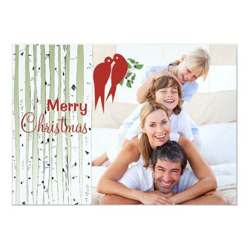 Birch Trees Red Love Birds Merry Christmas 13 Cm X 18 Cm Invitation Card