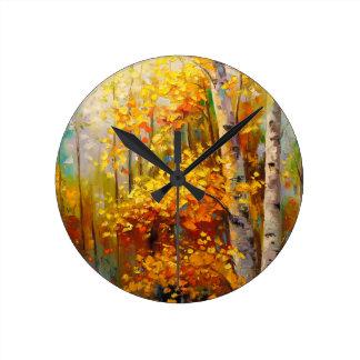 Birch trees round clock