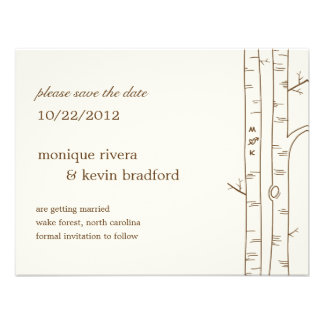 Birch Trees Save The Date Announcement - Sketchy Custom Invites