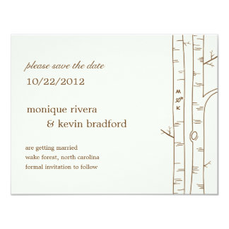 "Birch Trees Save The Date Announcement - Sketchy 4.25"" X 5.5"" Invitation Card"