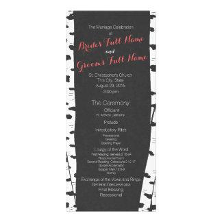 Birch Trees Slate Grey Wedding Program Rack Card