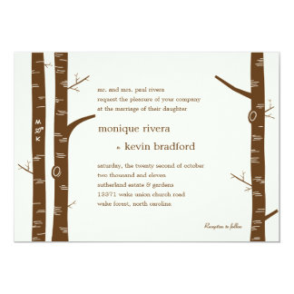 "Birch Trees Wedding Invitation - Almond 5"" X 7"" Invitation Card"