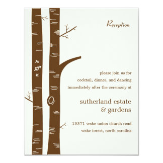 Birch Trees Wedding Reception Card - Almond Personalized Invitations