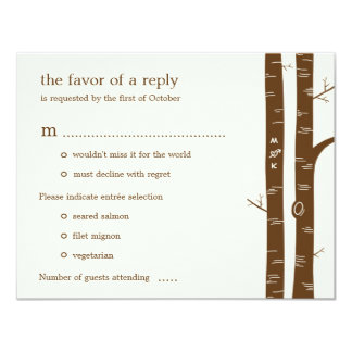 Birch Trees Wedding RSVP Card with entrée - Almond Invite