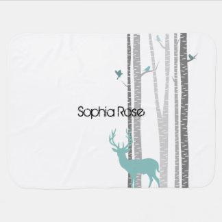 Birch Trees with Deer Baby Blanket